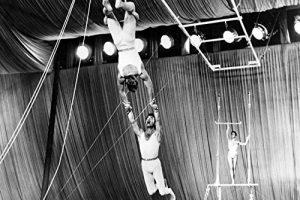 "Trapeze act in ""The Big Circu"""