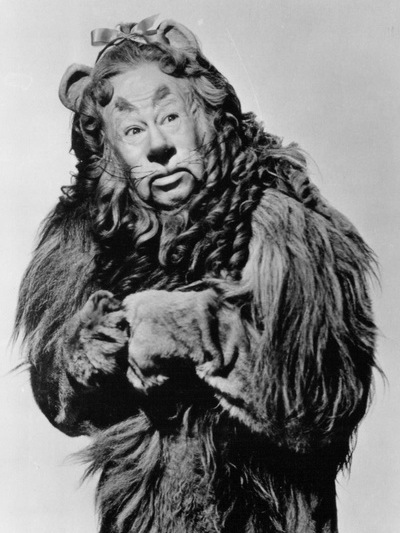 Bert Lahr as the Cowardly Lion in the Wizard of Oz, singing If I were King of the Forest