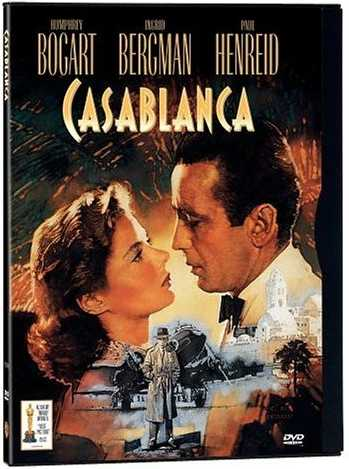 Casablanca (1942), starring Humphrey Bogart, Ingrid Bergman, Paul Henreid, Peter Lorre, Claude Rains, Sidney Greenstreet