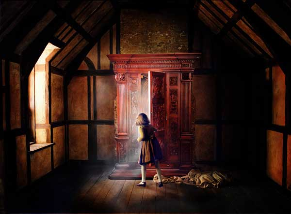 Lucy opening the Wardrobe, unwittingly opening a portal to Narnia