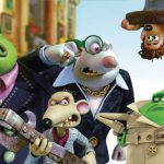 The villains searching ... where could those pesky heroes be? in a scene from Flushed Away