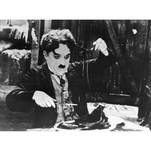 Charlie Chaplin in an iconic photo from The Gold Rush