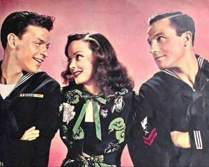 Photo of Frank Sinatra, Kathryn Grayson and Gene Kelly from -- €˜'Anchors Aweigh''.
