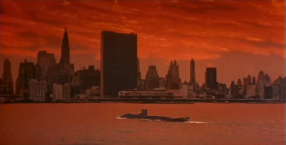 The burning sky,with the SeaView in the foreground and the United Nations in the background, in Voyage to the Bottom of the Sea