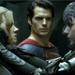 Superman (Henry Cavill) is caught between Lois Lane (Amy Adams) and the villainess Faora Ul