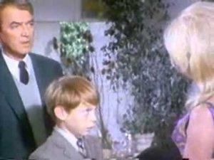 Jimmy Stewart, Billy Mumy and Brigitte Bardot at the end of Dear Brigitte