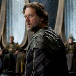Russell Crowe as Jor-El, appearing before the ruling body of Krypton