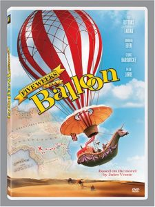 Irwin Allen's Five Weeks in a Balloon (1962), starring Cedric Hardwicke, Richard Haydn, Red Buttons, Barbara Eden, Fabian, BarBara Luna, Peter Lorre