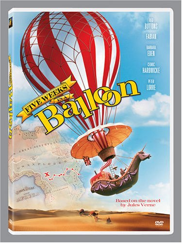 Irwin Allen's Five Weeks in a Balloon (1962), starring Cedric Hardwicke, Richard Haydn, Red Buttons, Barbara Eden, Fabian, BarBara Luna, Peter Lorre