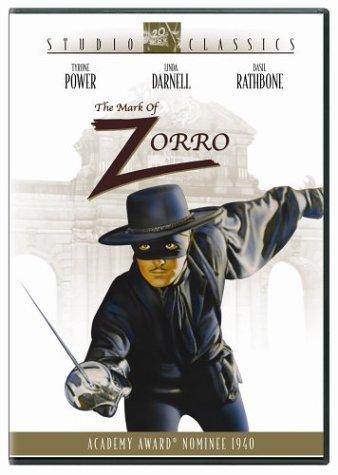 The Mask of Zorro, starring Tyrone Power, Linda Darnell, Basil Rathbone, J. Edward Bromberg, Gale Sondergaard, Eugene Pallette