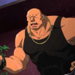 Ubu, Ras al Ghuls bodyguard, physically pushed around by a twelve year old in Son of Batman. Seriously.