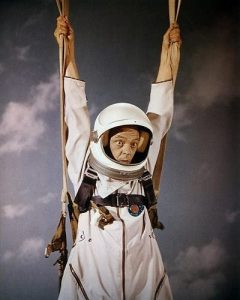 """Don Knotts, parachuting to Earth in """"The Reluctant Astronaut"""""""