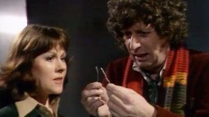 Sarah Jane listens while the fourth Doctor, Tom Baker, wonders: do I have the right?