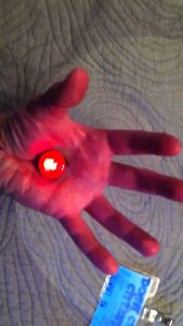 Logan's flashing red life crystal in Logan's Run