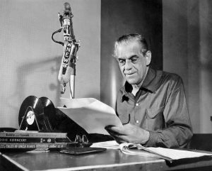 Boris Karloff doing his children's radio show at WNEW