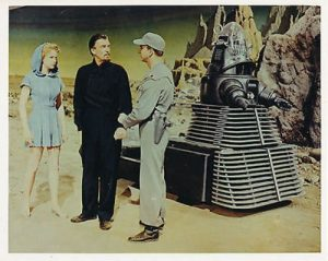 Forbidden Planet, starring Anne Francis, Walter Pidgeon, Leslie Nielsen, and Robby the Robot in his car