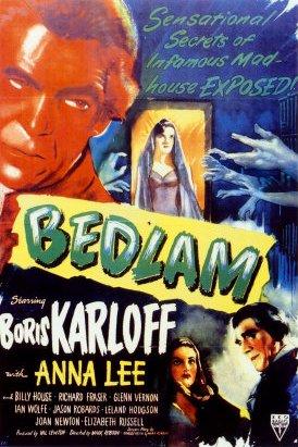 Bedlam movie poster - Boris Karloff, Anna Lee