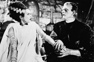 Elsa Lanchester as the Bride of Frankenstein and Boris Karloff as Frankenstein's monster