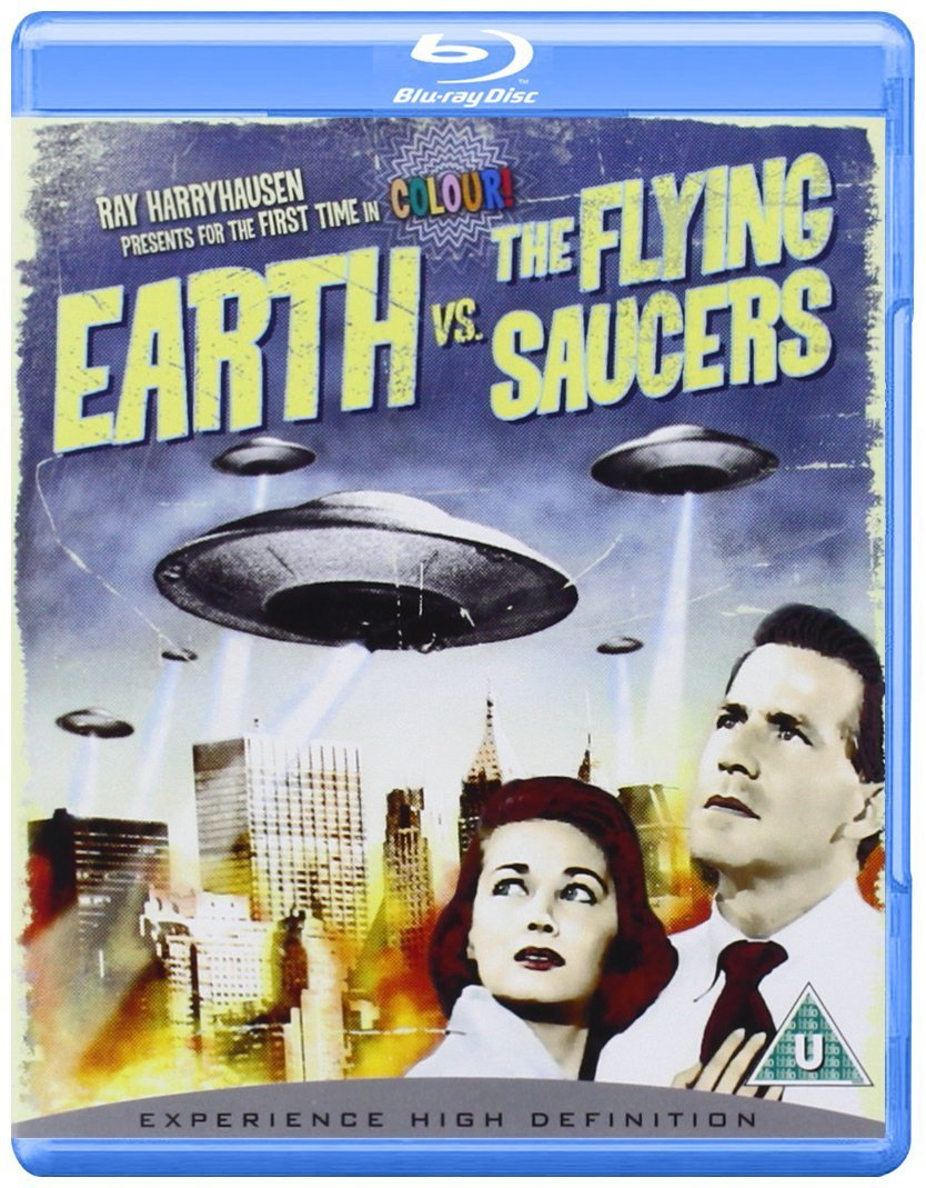 Earth vs. the Flying Saucers (1956), starring Hugh Marlow, Joan Taylor , special effects by Ray Harryhausen