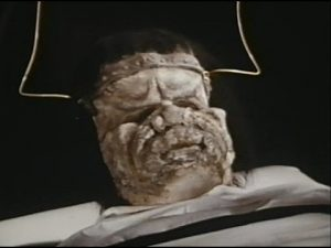 The face of Frankenstein's monster in Dracula vs Frankenstein