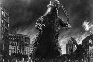 Iconic image of Gojira eating traing