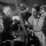 A chilling scene from Invisible Agent, where the Axis (Cedric Hardwicke, Peter Lorre) threaten the grandson of the Invisible Man (Jon Hall) with cutting off his fingers if he doesn't give them the invisibility formula