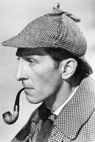 Peter Cushing,the Hound of the Baskervilles classic Sherlock Holmes with pipe