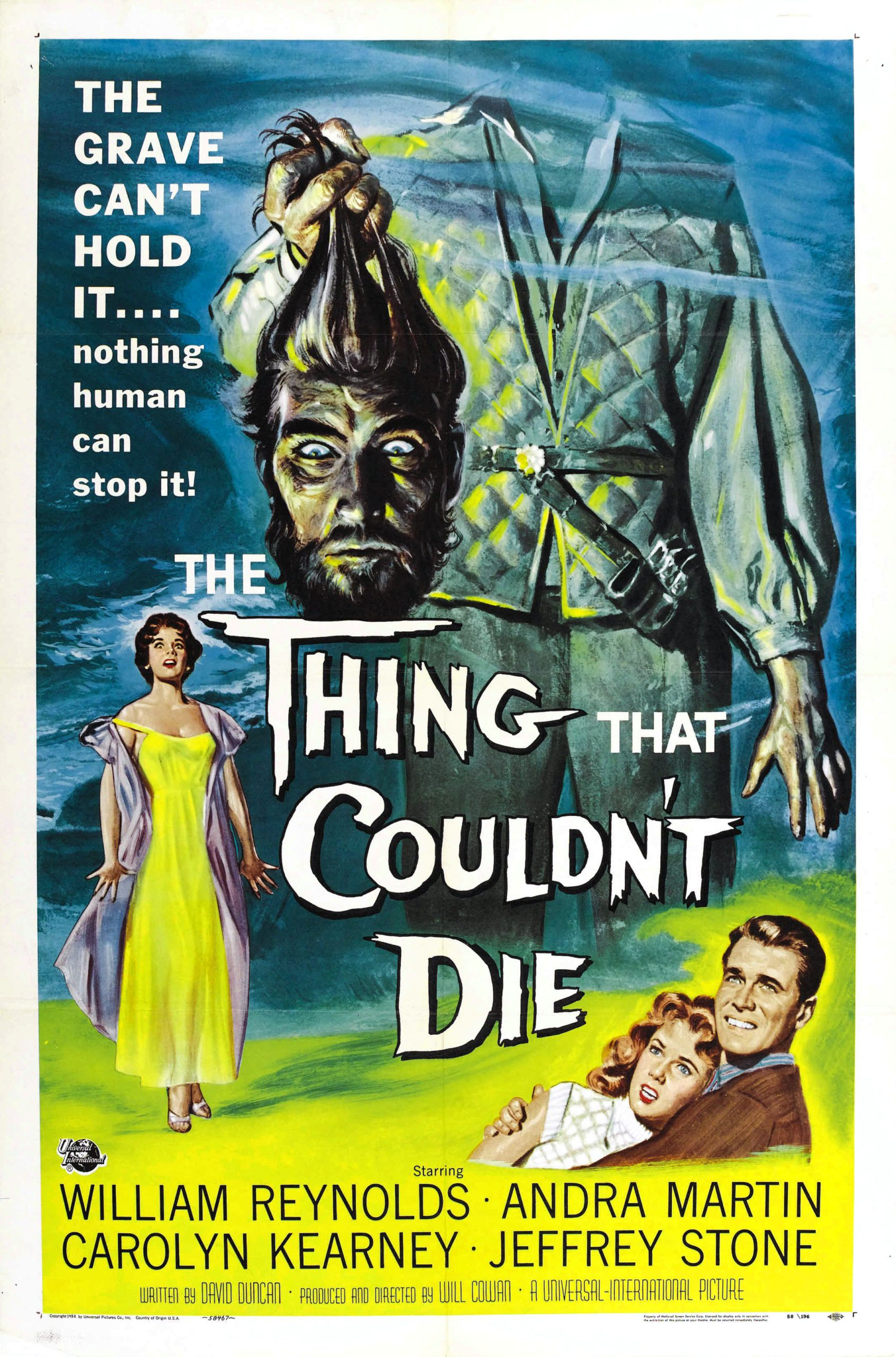 The Thing that Couldn't Die, starring Andra Martin, Carolyn Kearney, William Reynolds, Robin Hughes, Jeffrey Stone