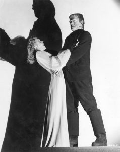 Evelyn Ankers and Lon Chaney Jr. as the monster in a publicity still from Ghost of Frankenstein