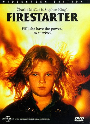 Firestarter (1984), starring Drew Barrymore, David Keith, Heather Locklear, Martin Sheen, Art Carney, George C. Scott