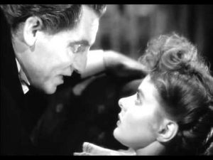 Mr. Hyde (Spencer Tracy) threatens Ivy (Ingrid Bergman) in Dr Jekyll and Mr. Hyde