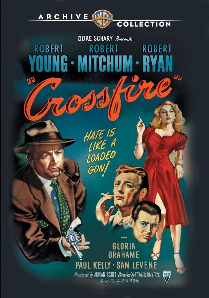 Crossfire (1947) starring Robert Young, Robert Mitchell, Robert Ryan, Sam Levene