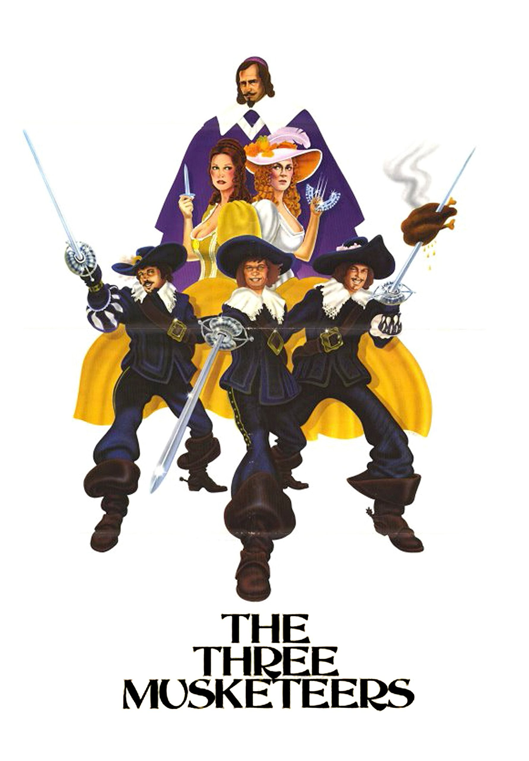 The Three Musketeers (1974) starring Oliver Reed, Raquel Welch, Richard Chamberlain, Michael York, Frank Finlay, Geraldine Chaplin, Charlton Heston, Faye Dunaway, Christopher Lee