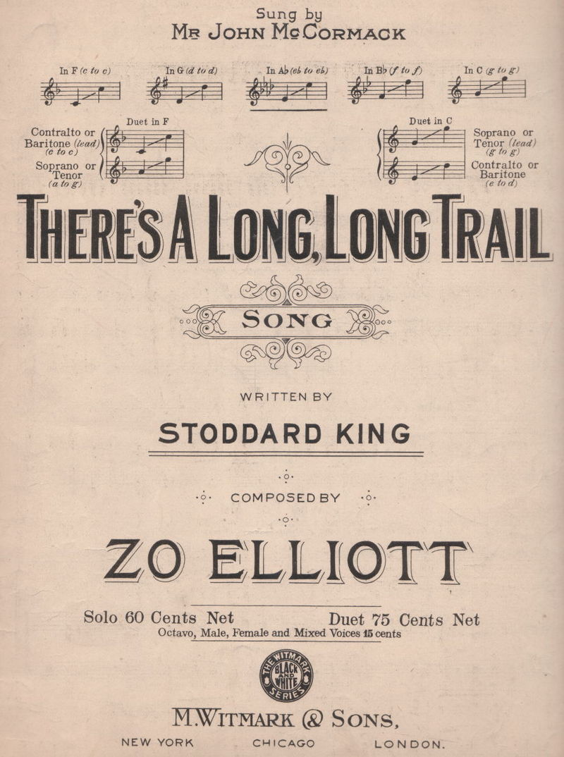 There's a Long, Long Trail lyrics, music by Zo Elliott, lyrics by Stoddard King, sung in For Me and My Gal