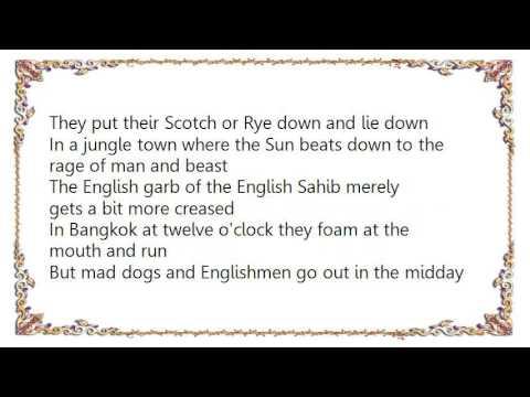Song lyrics toMad Dogs And Englishmen