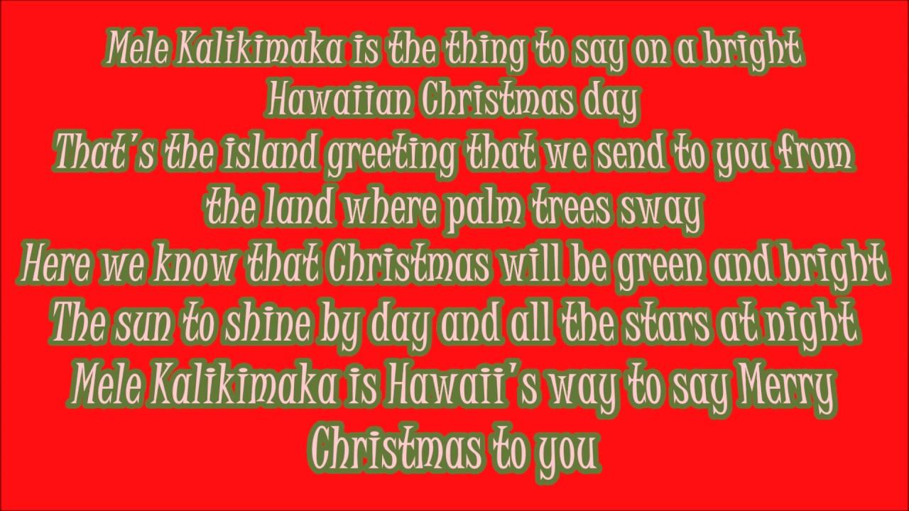 Mele Kalikimaka (Merry Christmas) Lyrics