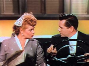 Lucy and Desi arguing while driving