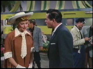 "Lucy and Desi at a trailer show in ""The Long Long Trailer"""
