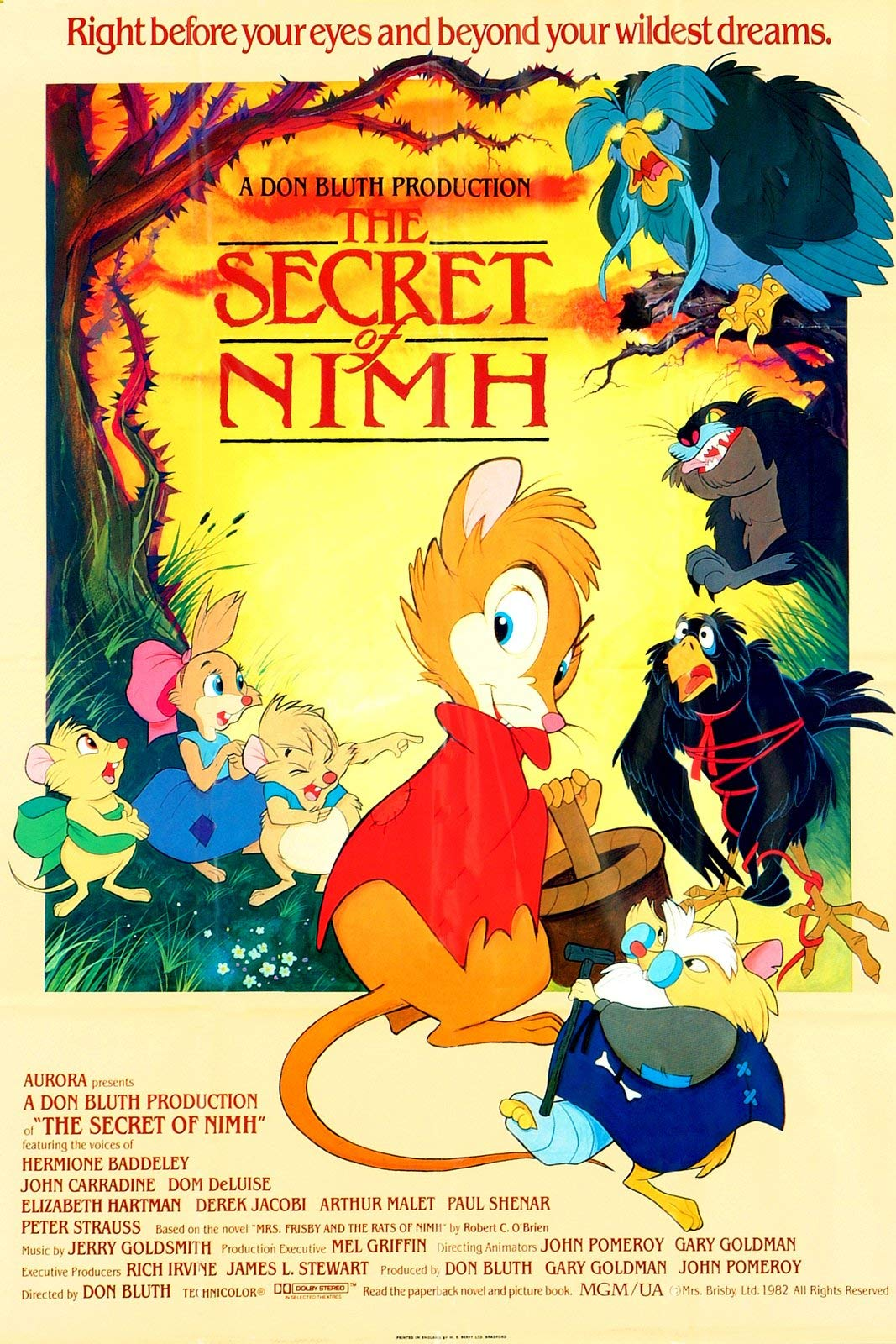The Secret of NIMH (1982) starring Elizabeth Hartman, Peter Strauss