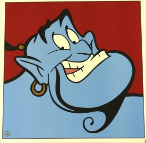 The Genie of the lamp, voiced by Robin Williams in Aladdin