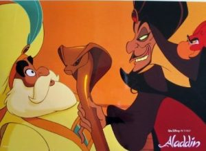 The sultan (Jasmine's father) being hypnotized by the villain Jafar