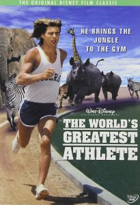 Cover of the 1973 Walt Disney comedy, The World's Greatest Athlete, with Nanu (Jan-Michael Vincent) running in a track uniform, with several of his jungle animal friends chasing him
