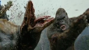 King Kong attacking one of the skull monsters - Kong: Skull Island