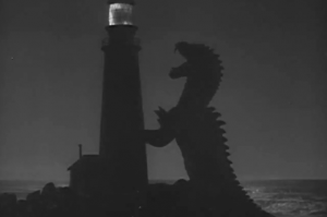 The Beast from 20,000 Fathoms tangles with a lightouse - a shout-out to Ray Bradbury's short story, The Fog Horn, that the movie is based on