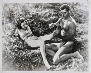 Jane (Maureen O'Sullivan) kidnapped by Tarzan (Johnny Weissmuller) who's kidnapped her -- he's never seen a human woman before!