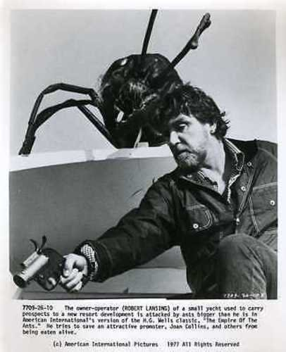 Robert Lansing, as the captain of the boat that ferried the people to the ant-infested island, sets fire to it as the ants begin overriding