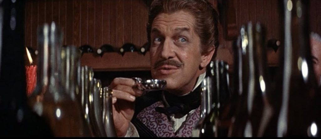 Vincent Price in a wine tasting contest in The Black Cat section of Tales of Terror