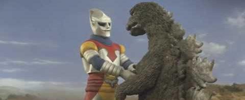 Jet Jaguar shakes hands with Godzilla