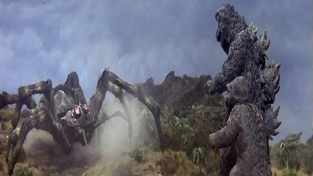 "Kumonga (aka. Spiga) the giant spider versus Godzilla and son in ""Son of Godzilla"""