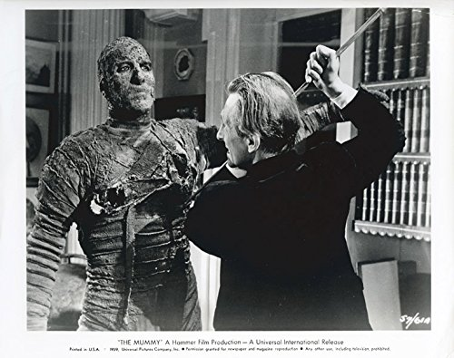 Peter Cushing spears Christopher Lee in The Mummy